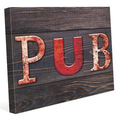 "Click Wall Art 'Red Pub Wood Planks ' Textual Art on Wrapped Canvas Size: 16"" H x 20"" W x 1.5"" D"