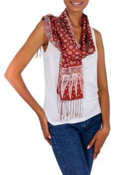 Silk-Batik-Scarf-Brown-Print-Handmade-Indonesia-039-Love-Awakens-039-NOVICA-Bali