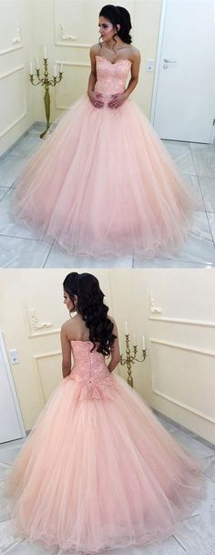 Elegant Lace Appliques Sweetheart Organza Ball Gowns Peach Quinceanera  Dresses Ball Gown Dresses 3064f868052e