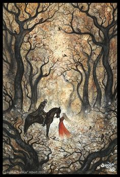 Two Autumns Art Print by Sieskja - X-Small Images Disney, Witch Art, Fairytale Art, Autumn Art, Art Graphique, Fantasy Artwork, Whimsical Art, Art Inspo, Amazing Art