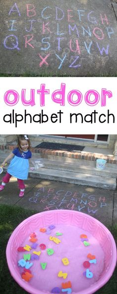 Match for Toddlers Outdoor Alphabet Match for Toddlers: Such a fun activity for teaching letter recognition to toddlers and preschoolers!Outdoor Alphabet Match for Toddlers: Such a fun activity for teaching letter recognition to toddlers and preschoolers! Preschool Learning, Toddler Preschool, Kids Learning, Learning Games, Toddler Alphabet, Toddler Daycare, Alphabet For Toddlers, Outdoor Learning, Preschool Water Activities