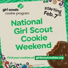 It's National Girl Scout Cookie Weekend - and GSNorCal girls will have cookies available on Sunday, Feb. 9 through March 16! Find cookie booths near you at www.girlscoutcookies.org