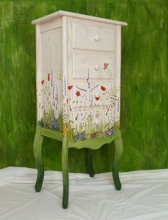 Bureau jardin silvestre - Muebles pintados a mano - L'atelier du Papillon