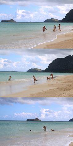 波のない日。 Waimanalo Beachでかわいい四姉妹(三姉妹+1匹)を見つけたよ。  転がるようにじゃれ合って遊ぶ3人と1匹。 絵になりすぎるほどの幸せの1ページ。  こんな青春時代、送ってみたかった〜。笑  海底が岩や珊瑚でゴツゴツしているビーチが多いなかで、 このWaimanalo Beachは下が砂。 普段はちょっとボディボードで遊べるくらいの波があって、 子供を遊ばせるのにはもってこいのビーチです。  きれいな海で遊ぶ子供たちの姿は見ているだけで癒されるしね。  ::MamaA::