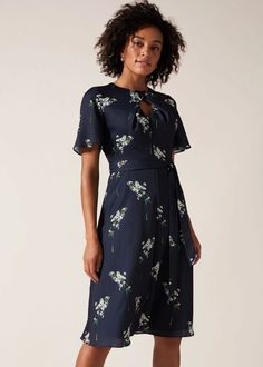 Multicoloured Kitty Snow Drop Print Dress - Blue - Phase Eight Dresses Floral Occasion Dresses, Special Occasion Dresses, Fitness Fashion, Looks Great, Night Out, Wrap Dress, Floral Prints, Cold Shoulder Dress, Short Sleeve Dresses