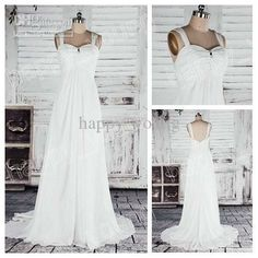 Wholesale Romantic White Chiffon A-Line Spaghetti Straps Style Corset Bodice Long Wedding Dress Short Train, Free shipping, $138.33/Piece | DHgate