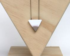 triangle necklace / neutral tan and white minimal pendant / modern geometric jewelry