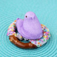 Purple Peeps on Pretzels