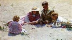 Children By The Seashore  Charles Courtney Curran (1861 – 1942, American)