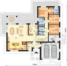 Rzut ARP PADME 2 CE House Plans Mansion, Craftsman House Plans, Dream House Plans, Modern House Plans, House Floor Plans, Circle House, Garage Double, Three Bedroom House Plan, Architectural House Plans