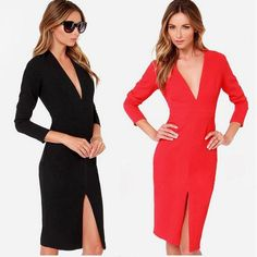 New 2015 Spring Summer Sexy V Lower Spli Long Sleeves Women Long Ong Dressdresses Plus Size Hip Package Slim Evening Casual Dresses Hxz01 60 From Fashionup, $14.94   Dhgate.Com