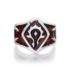 Unique Design Game Badge Theme Ring in Red with Adjustable Size