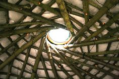 A better look at the ceiling.  (Do you see the spiraling Xmas lights?) Cobwood Round House Ceiling by Indicamama, via Flickr