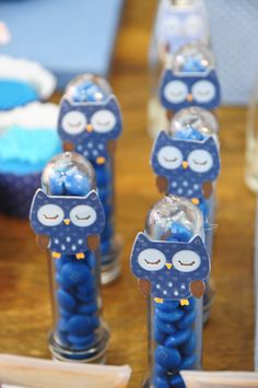 Blue and Pink Owl Party candies