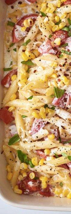 Creamy Ricotta Corn and Tomato Baked Ziti Recipe. Looking for ideas and recipes to use up fresh summer tomatoes and corn? This healthy, lighter take on ziti is one of the most perfect dishes around. Baked in the oven, this casserole pasta recipe is a light, easy, and simple dinner. Ideal vegetarian entree for meatless monday!