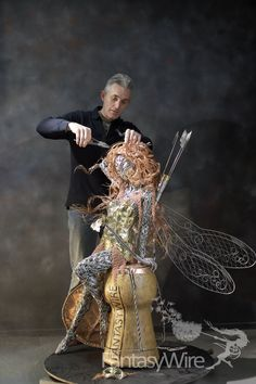 30 ideas garden fairy statue robin wight for 2019 Robin Wight, Chicken Wire Sculpture, Wire Art Sculpture, Wire Sculptures, Tree Sculpture, Abstract Sculpture, Fantasy Wire, Fairy Statues, Art Du Fil