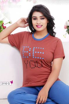 Brown-Letters-Print-Round-Neck-Short-Sleeve-Cotton-Sinker-Gilrs-Night-Suit-2110G-13282  Catalog No : 4187  WWW.LKFABKART.COM  #wholesaledealer #bulksupplier #bulkdealer #bulkmanufacturer #nightwearxporter #nightwearmanufacturer #simple #nihtwear #topbottomset #2pieceset #factoryrates #worldwide #lkfabkart Night Suit For Women, Suits For Women, Clothes For Women, Beautiful Girl Indian, Most Beautiful Women, Cute Girl Pic, Cool Girl, Indian Beauty, Shirts For Girls