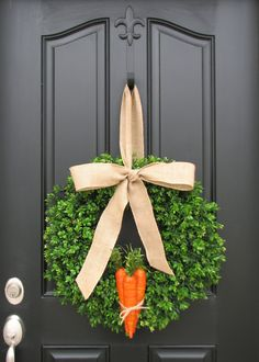 Easter Carrots and Boxwood, Boxwood Wreaths XL, Spring Wreaths, Burlap, Boxwood Wreath, Door Wreaths