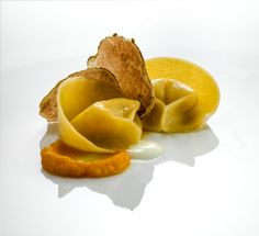 Capon tortellini with pumpkin purée, Grana Padano sauce and white truffle from Alba - By Heinz Beck