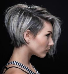100 Mind-Blowing Short Hairstyles for Fine Hair – hair bangs long Short Hairstyles For Thick Hair, Short Bob With Undercut, Short Asymmetrical Hairstyles, Hairstyle Short, Grey Short Hair Styles, Grey Hair Short Bob, Side Undercut, Asymmetrical Pixie Cuts, Side Hair Styles