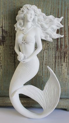 Magic Mermaid Wall Art Figure with Flowing Hair - Hanging Nautical Mermaid - Coastal Beach Decor - California Seashell Company