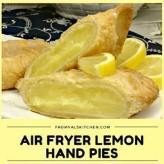 Air Fryer Lemon Hand Pies feature homemade lemon curd encased in a crisp and flaky crust. And, because they're made in an air fryer they're made with a lot less oil than regular fried hand pies. Use gluten free pie dough recipe Air Fryer Recipes Breakfast, Air Fryer Dinner Recipes, Air Fryer Oven Recipes, Air Fry Recipes, Pie Recipes, Cooking Recipes, Cooking Tips, Dessert Recipes, Lemon Recipes