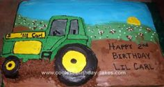 Homemade John Deere Tractor Cake: I had a request to make a John Deere Tractor Cake for a little boy's 2nd birthday but they needed it to feed several people so I used the tractor cake