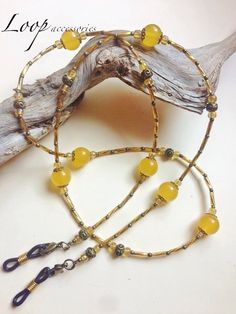 COLOMBIAN AMBER RESIN  ∫∫∫ Amber Resin Gemstone Beaded Necklace or Eyeglasses Reading Glasses Sunglasses Spectacles Chain Cord Holder Strap by LoopAccessoriesShop on Etsy https://www.etsy.com/listing/264154837/colombian-amber-resin-amber-resin
