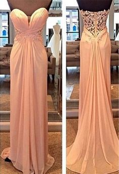 Strapless Runched Bodice and Floor Length Long Chiffon