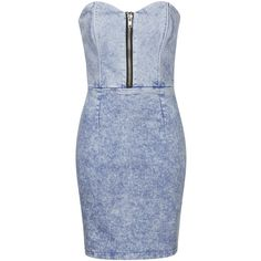 TOPSHOP **Denim Strapless Dress by WYLDR ($74) ❤ liked on Polyvore featuring dresses, vestidos, blue, strapless bodycon dress, blue body con dress, blue denim dress, blue bodycon dress and topshop