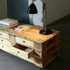 Upcycle/repurpose:  Pallet with drawers!