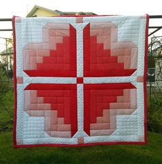 Handmade quilt heart pattern romantic patchwork red&white