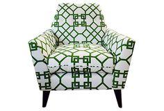 Porter Chair, Green/White on OneKingsLane.com