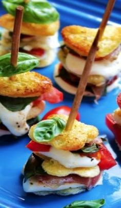 Mozzarella Skewers- Like a toasted Caprese Salad on a stick! Delicious!