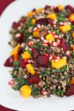 Lentil Kale Whole Grain Beet Winter Squash Mushroom Salad Lentil Salad with Kale, Whole Grains, Beets, Winter Squash, Mushrooms and Pomegranate Seeds Whole Food Recipes, Cooking Recipes, Recipes Dinner, Cooking Tips, Dessert Recipes, Vegetarian Recipes, Healthy Recipes, Easy Recipes, Lentil Recipes