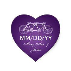 Wedding Save The Date Tandem Bike Purple Stickers