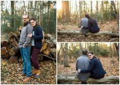 Janice Louise Photography | Delaware Family Photographer | Milford, Delaware | forest, woods, fall colors, leaves, logs, sweaters, couple