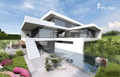 Studio Architektur (www.Studio Architektur (www.flow-architek…) - Add Modern To Your Life Studios Architecture, Residential Architecture, Amazing Architecture, Contemporary Architecture, Interior Architecture, Architecture Plan, Flat Roof House, Arch House, Modern Buildings