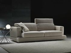 Upholstered fabric sofa with headrest with removable cover GHOST | Sofa - GYFORM