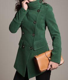 Blue Long Coat/Winter Coat/Woman coat/ Long Jacket/ Long Sleeves ...
