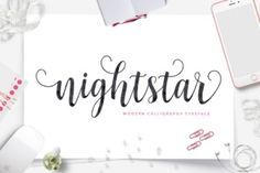 http://Nightstar Script is a fresh, modern script. It has a handmade calligraphy style and features decorative glyphs. It comes packed with 455 unique glyphs, allowing you to create endless combinations.
