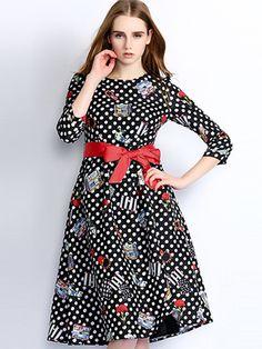 Doresuwe.com SUPPLIES 欧米セレブ愛用新品 2015秋 ファッション 水玉柄 プリント マキシワンピース  デートワンピース