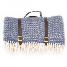Blue Wool Picnic Blanket with leather straps