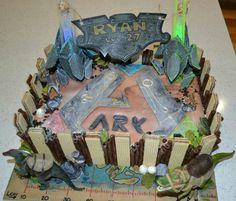 ARK survival evolved cake #ark #beacons #dinosaurs #theisland Dinosaur Birthday Party, Boy Birthday, Birthday Parties, Birthday Ideas, Survival, Water Party, Party Rock, Cake Art, Ark