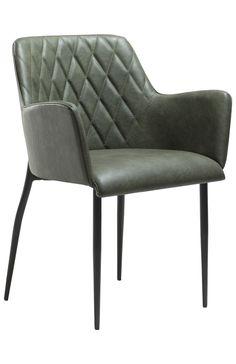 Rombo+Spisebordsstol+-+Vintage+grøn+-+En+behagelig+spisebordsstol+i+lækkert+grønt+vintage+look.+Spisebordsstolen+er+udstyret+med+armlæn+samt+et+blødt+sæde+for+ekstra+komfort+rundt+om+spisebordet.+En+stol,+der+egner+sig+godt+til+lange+hyggeaftener+om+spisebordet.