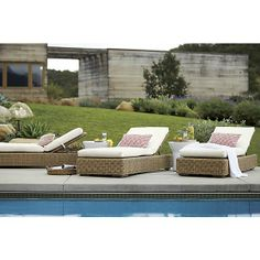 Newport Chaise Lounge with Sunbrella® --pretty but a different colored cushion would be lovely. Crate and Barrel.