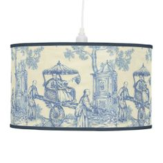 Blue  White Toile -- Chinese Empress in a Garden Pendant Lamp.  Also available as a table lamp.