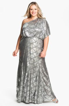 Adrianna Papell One Shoulder Foil Finish Gown (Plus) available at #Nordstrom