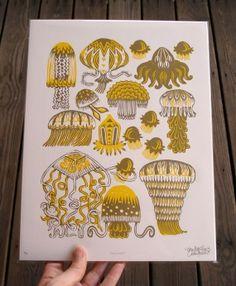 Jellies Woodcut