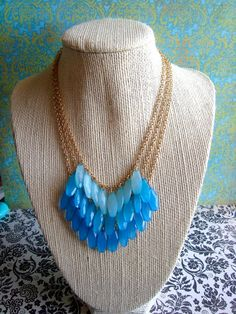 Blue Ombre Statement Necklace by girlsewcute on Etsy, $37.00